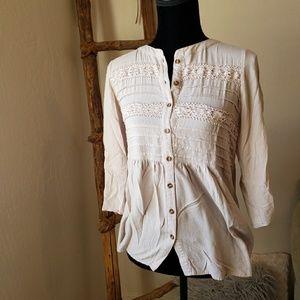 Spense Blush Button Down Lace Blouse - Size Small